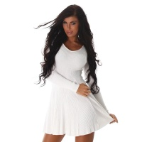 SEXY SHORT RIB-KNIT MINIDRESS IN A-LINE SHAPE CREME-WHITE