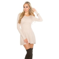 SEXY SHORT KNITTED MINIDRESS IN A-LINE SHAPE WAISTED BEIGE Onesize (UK 8,10,12)