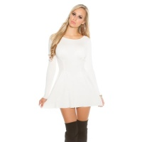 SEXY SHORT KNITTED MINIDRESS IN A-LINE SHAPE WAISTED CREAM