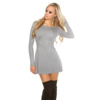 SEXY SHORT KNITTED MINIDRESS IN A-LINE SHAPE WAISTED GREY