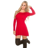 SEXY SHORT KNITTED MINIDRESS IN A-LINE SHAPE WAISTED RED