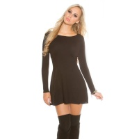 SEXY SHORT KNITTED MINIDRESS IN A-LINE SHAPE WAISTED BLACK Onesize (UK 8,10,12)