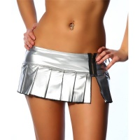 SEXY WET LOOK MINISKIRT CLUBBING SILVER UK 8/10