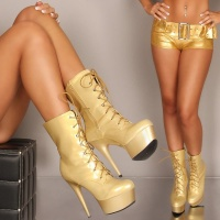 SEXY PLATEAU LACQUER ANKLE BOOTS GOLD