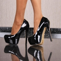SEXY PATENT LEATHER LOOK PLATFORM SHOES HIGH HEELS WITH...