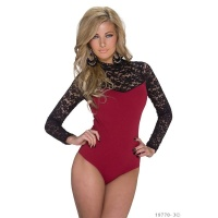 FEMININE LONG-SLEEVED BODY-SHIRT WITH LACE WINE-RED/BLACK