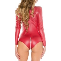 SEXY LANGARM BODY WETLOOK MIT ZIPPER GOGO CLUBWEAR BORDEAUX