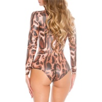 SEXY LANGARM BODY WETLOOK MIT ZIPPER GOGO CLUBWEAR LEOPARD