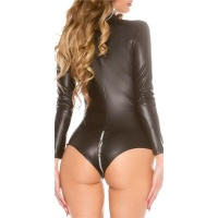 SEXY LONG-SLEEVED WET LOOK BODY WITH ZIPPER GOGO CLUBWEAR...