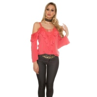 SEXY LONG-SLEEVED CARMEN LOOK BLOUSE WITH FLOUNCES AND LACE CORAL