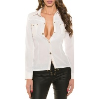 SEXY LONG-SLEEVED CHIFFON BLOUSE WITH IMITATION LEATHER...