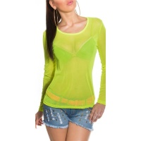 SEXY LONG-SLEEVED CHIFFON SHIRT TRANSPARENT CLUBWEAR NEON-GREEN