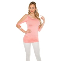 SEXY LONG-SLEEVED LADIES SHIRT LONGSHIRT RHINESTONE-LOOK SALMON