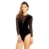 SEXY LONG-SLEEVED GLAMOUR BODYSHIRT MADE OF VELVET WITH LACE BLACK