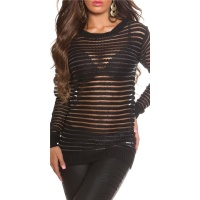 SEXY LONG-SLEEVED CHUNKY KNIT SWEATER TRANSPARENT BLACK