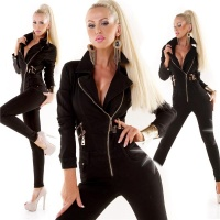 SEXY LONG-SLEEVED JEANS OVERALL JUMPSUIT WITH ZIPPER BLACK