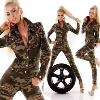SEXY SLIM-FIT LONG-SLEEVED JEANS JUMPSUIT ARMY-LOOK...
