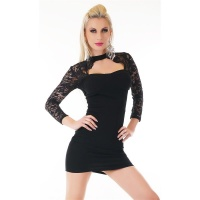 SEXY LONG-SLEEVED MINIDRESS IN BOLERO-LOOK WITH LACE BLACK