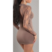 SEXY LONG-SLEEVED MINIDRESS WITH LACE BOLERO-LOOK CAPPUCCINO
