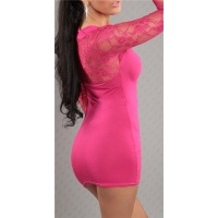 SEXY LONG-SLEEVED MINIDRESS WITH LACE BOLERO-LOOK FUCHSIA