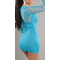SEXY LONG-SLEEVED MINIDRESS WITH LACE BOLERO-LOOK TURQUOISE