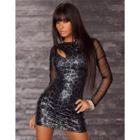 SEXY LONG-SLEEVED MINIDRESS LEOPARD-LOOK BLACK/GREY