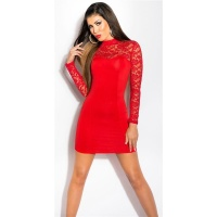 SEXY LONG-SLEEVED MINIDRESS WITH LACE AND STAND-UP COLLAR...
