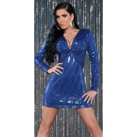 SEXY LONG-SLEEVED PARTY DRESS MINIDRESS WITH SEQUINS BLUE