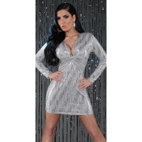 SEXY LANGARM MINIKLEID PARTY KLEID MIT PAILLETTEN GRAU 40