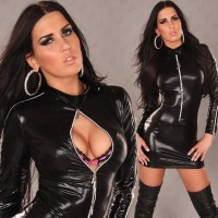 SEXY LONG-SLEEVED MINIDRESS WET LOOK GOGO CLUBWEAR BLACK