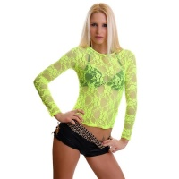 SEXY LONG-SLEEVED SHIRT MADE OF LACE CLUBWEAR NEON-YELLOW