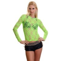 SEXY LONG-SLEEVED SHIRT MADE OF LACE CLUBWEAR NEON-GREEN