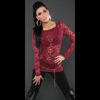 SEXY LONG-SLEEVED SHIRT MADE OF LACE TRANSPARENT WINE-RED UK 10/12 (M/L)