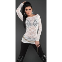 SEXY LONG-SLEEVED SHIRT MADE OF LACE TRANSPARENT WHITE UK 10/12 (M/L)