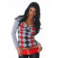SEXY LONG-SLEEVED SHIRT BOLERO-LOOK WITH CHECKED PATTERN...