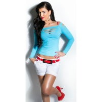 SEXY LONG-SLEEVED SHIRT WITH RIFTS CLUBWEAR TURQUOISE