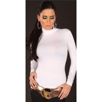 SEXY LONG-SLEEVED SHIRT WITH TURTLE NECK COLLAR RIVETS WHITE