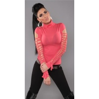 SEXY LONG-SLEEVED POLO-NECK SHIRT WITH RIFTS CLUBWEAR CORAL