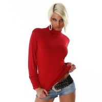 SEXY LONG-SLEEVED POLO-NECK SHIRT RED
