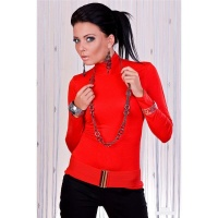 SEXY LONG-SLEEVED SHIRT WITH STANDING COLLAR RED