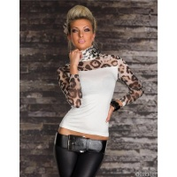 SEXY LONG-SLEEVED SHIRT TRANSPARENT LEOPARD-LOOK WHITE Onesize (UK 8,10,12)