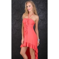 EXCLUSIVE HALTERNECK LATINO DRESS EVENING DRESS CORAL