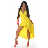 EXCLUSIVE HALTERNECK LATINO DRESS EVENING DRESS YELLOW