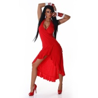 EXCLUSIVE HALTERNECK LATINO DRESS EVENING DRESS RED