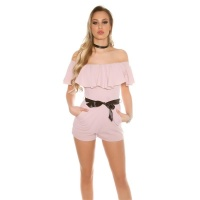 SEXY LATINA STYLE OVERALL PLAYSUIT WITH FLOUNCE ANTIQUE PINK