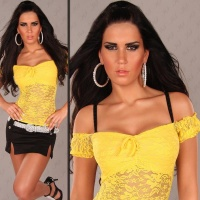 SEXY LATINA-TOP MADE OF LACE YELLOW  Onesize (UK 8,10,12)