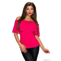 SEXY LACE TOP IN LATINA STYLE WITH FLOUNCES FUCHSIA Onesize (UK 8,10,12)