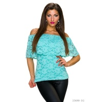 SEXY LACE TOP IN LATINA STYLE WITH FLOUNCES TURQUOISE Onesize (UK 8,10,12)