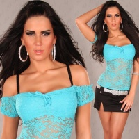 SEXY LATINA TOP MADE OF LACE TURQUOISE Onesize (UK 8,10,12)