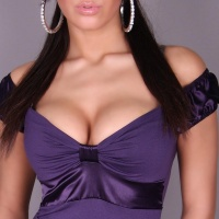 SEXY LATINA TOP WITH SATIN DARK PURPLE